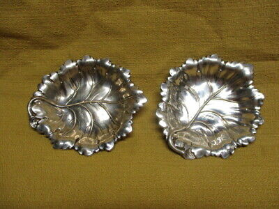 Antique English Sterling Silver Pair of  Leaf Form Butter Pats