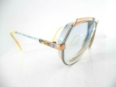 Vintage Cazal Gold & Blue Abstract Oval Eye Glasses MOD: 954 COL.361 67 9 130