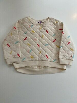 Girls Cream Quilted Jumper With Feather Detail. John Lewis. Age 2. BNWOT.