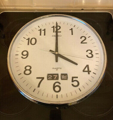 Old Vintage Seiko Wall Clock Quartz  Day Date Parts Spares