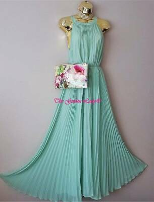 Ted Baker Gorgeous Mint Green Pleated Maxi Bead Evening Dress Size 10 (TB2) Eu38