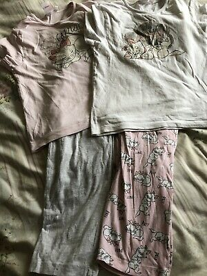 Two Pairs Girls Aristocats Marie Two Piece Pyjamas Set Age 7-8 Years Pink Grey