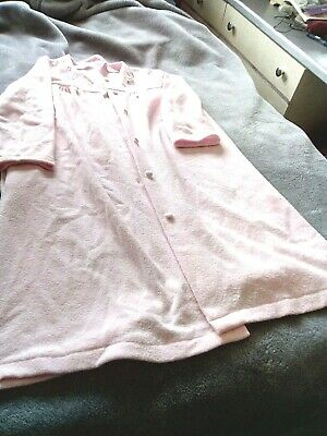 Pink Fluffy  Dressing Gown,Size 8-10,Button Front,No Collar,Flower Motif