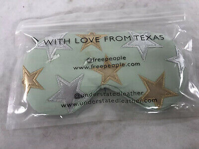Free People Understated Leather Womens Nwt Sleep Mask Green With Stars