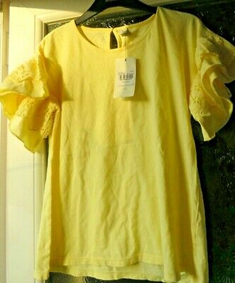 Tu Yellow T Shirt, Frilled Edge Sleeve With Broderie Anglaise Trim Age 14 Bnwt