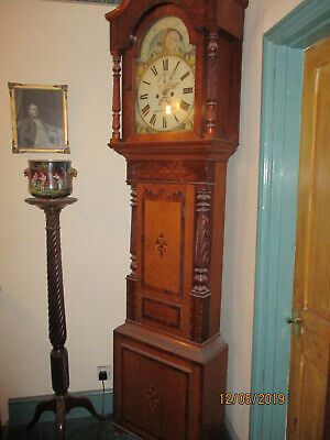 Peck Of Wellingborough Large Inlaid 8 Day Moonphase Longcase Grandfather Clock