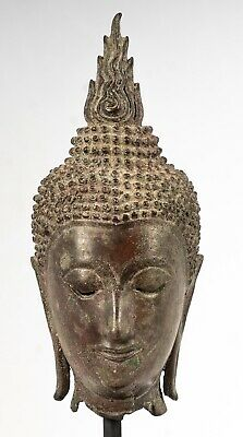 Antique 18th Century Sukhothai Mounted Bronze Buddha Head - 24cm/10""