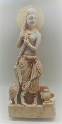 Museum Quality Ancient Gandhara Marbled Stone Statue Standing Lady Superb