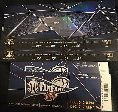2 SEC Championship Tickets Sect 101 Lower Level I'm In ATL