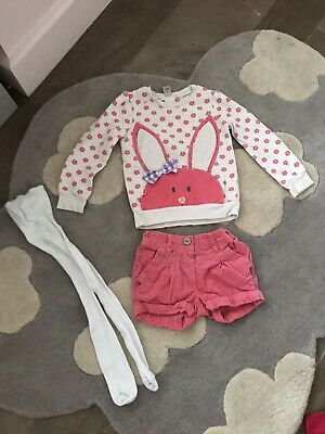 Girls 2-3 Years Jumper Shorts And Tights Outfit  Rabbit