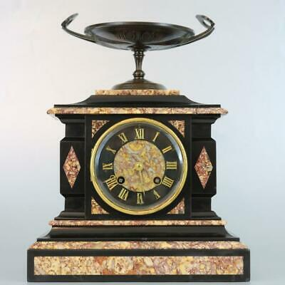 Gorgeous Small Black Slate, Marble & Bronze French Mantel Clock - Vincenti