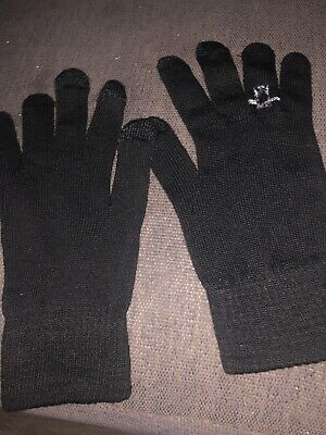 Black Knitted One Size Gloves With Ring