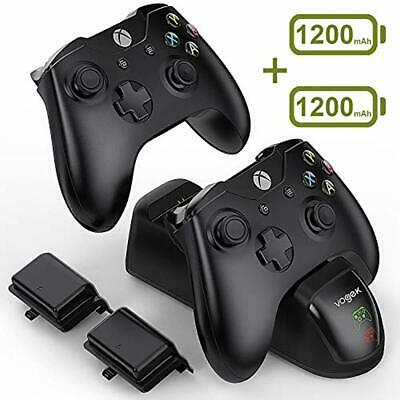 VOGEK Xbox One Controller Charger, 2 x 1200mAh Rechargeable Battery Packs [Dual