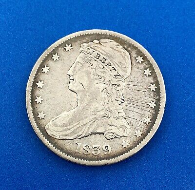 1839 P Capped Bust Silver Half Dollar Reverse Large Letters Two Year Type Coin