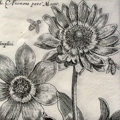 3 Paper Coctail Napkins for Decoupage / Parties /Weddings - Anemone charcoal