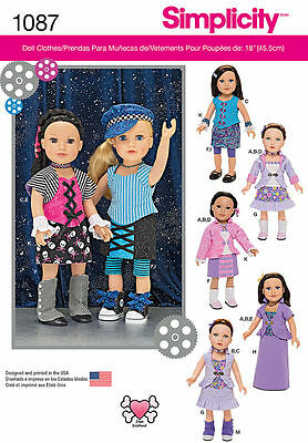 Simplicity 1087 American Girl 18 Doll Clothes Pattern Modern Mix & Match New !!