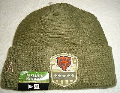 Chicago Bears Nfl New Era 2019 Salute To Service On Field Knit Hat New W/Tags