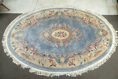 Vintage Chinese Woven Wool Floral Oval Aubusson Floor Rug Carpet French Style