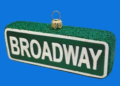 Broadway Street Sign Landmark European Blown Glass Christmas Ornament Decoration