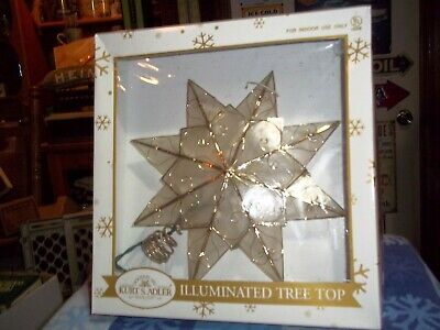 Kurt Adler Illuminated  Tree Topper With  Clear Lights Christmas Tree Decor Nib