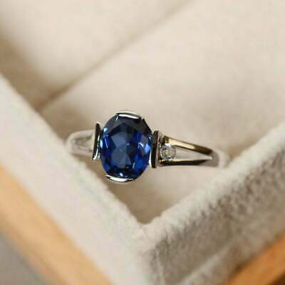1ct Natural  Sapphire Oval Cut 14K White Gold Over Unique Engagement Ring