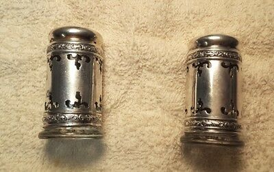Antique Gothic Pat Oct 31 1893 Pair Sterling Silver Salt & Pepper Shakers