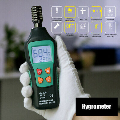 Digital Temperatue Humidity Thermometer Hygrometer Mini Wet Bulb Dew Point Meter