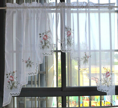 Pretty Pink Flower Applique Embroidery Ribbon Border Sheer Cafe Curtain Swags