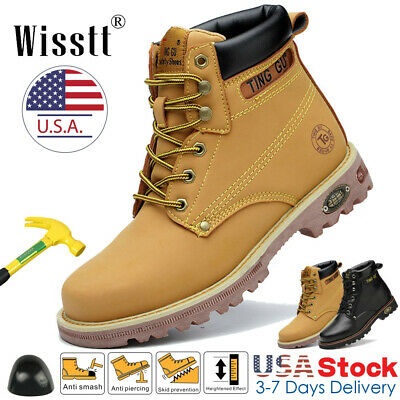 Men's Safety Work Shoes Steel Toe Boots Waterproof Leather Outdoors Martin Boots