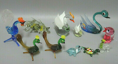 Italian Murano Multicolored Art Glass Animals and Birds Figurine Figure 11 pcs
