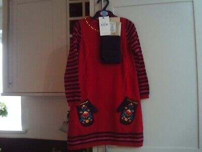 Girls red/navy dress and matching tights (2 part set)  - age 5-6 years BNWT