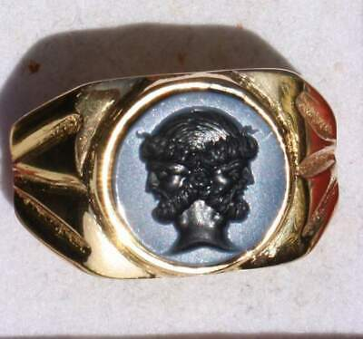 Outstanding Heavy Roman Style Silver- gold plated Intaglio Signet Seal Ring