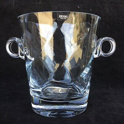 KROSNO POLAND Substantial GLASS CRYSTAL ICE BUCKET Handles