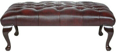 Extra Large Chesterfield Footstool Table 100% Antique Oxblood Red Leather