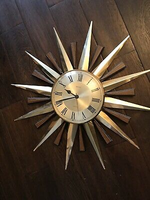 VINTAGE RETRO 1970s METAMEC STARBURST / SUNBURST WALL CLOCK