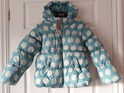 Brand New Girls Next Puffa Style Hooded Coat In Aqua with Spot Design  Age 5 - 6