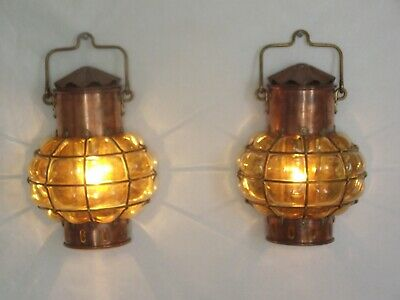 Pair Old Nautical Themed Ship Wall Lamps Amber Blown Glass & Brass Frames 1384