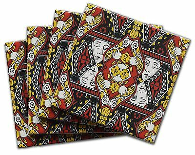 Queen Playing Card Pattern Ceramic Tile Coasters with Cork Backing