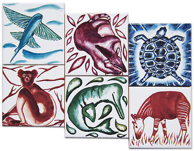 Exotic Animal Ceramic Tile 6 Coaster Set with Cork Backing