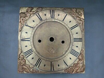 "Antique Grandfather Longcase brass clock dial face 10"" for spares or parts"