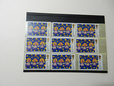 100 unfranked 2nd class Christmas stamps, off paper, original gum