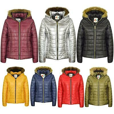 Kids Girls Jackets Faux Fur Detachable Hood Quilted Padded Puffer Jacket Coats