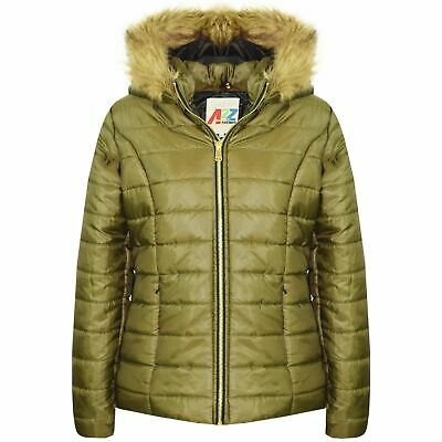 Kids Girls Jackets Olive Puffer Padded Quilted Detachable Hood Faux Fur Top Coat