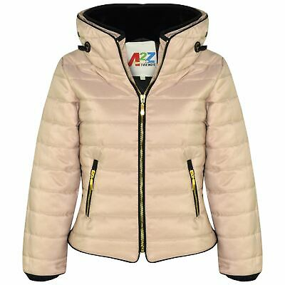 Kids Girls Jackets Stone Quilted Padded Puffer Bubble Fur Collar Warm Coats 3-13
