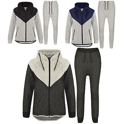 Kids Boys Girls Contrast Panel Tracksuit Hooded Top Bottom Jogging Suit 7-13 Yr