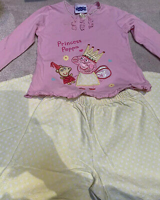 George Princess Peppa Pig Pink Yellow Long Sleeved Pyjamas Age 4-5 Yrs