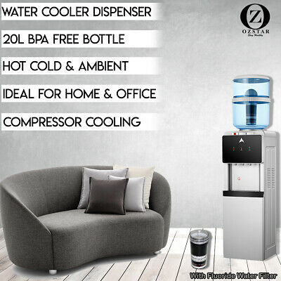 Water Cooler Dispenser KDF Fluoride Water Filter Free Standing Black Silver 20L