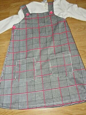 Primark Check Pinafore And Long Sleeved Top Outfit, Age 2-3 Bnwt