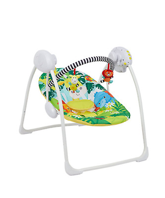Deluxe Foldable Baby Bouncer Safari Animals First Swing Soothing Music & Toy 693