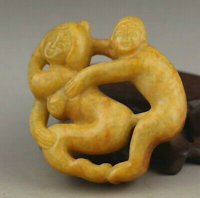 Chinese old natural jade hand-carved statue pendant 2.1 inch